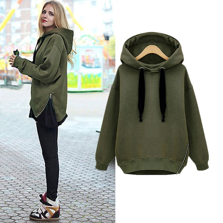 Hot Selling Women Fashion Side Zipper Hoody Sweatershirt Ladies Spring Winter Casual Hoodie With hood 29
