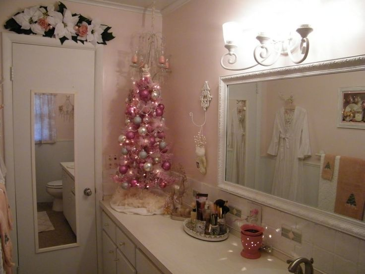 Bathroom Decor Creative Pink Christmas Bathroom Decorations With Decorative  White Flower And Peach Pearl Door Toppers