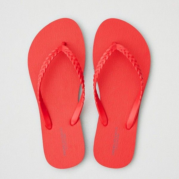 AE Flip Flop (955 RSD) ❤ liked on Polyvore featuring shoes, sandals, flip flops, red, red flip flops, pvc shoes, american eagle outfitters, red sandals and american eagle outfitters shoes