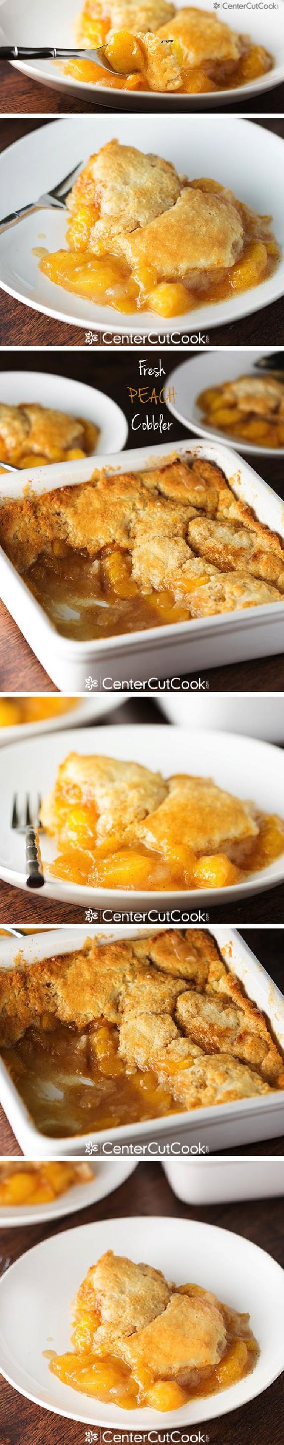 FRESH PEACH COBBLER - This timeless summer dessert features fresh juicy peaches, hints of cinnamon, and a buttery light batter that is baked until golden brown and delicious!