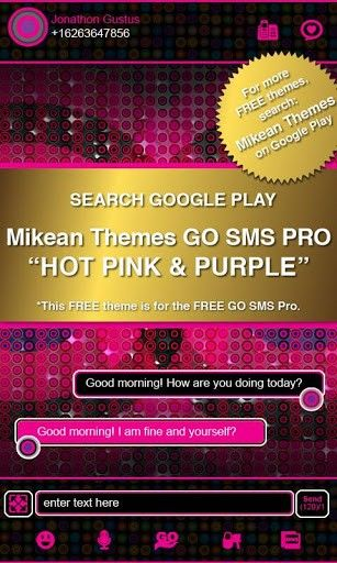 go sms pro themes | Pink Zebra Theme 4 GO SMS PRO for Android