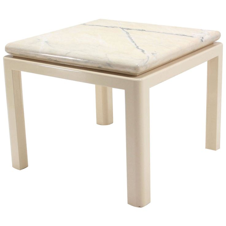 Thick Marble-Top Enameled Base Mid-Century Modern Square Game or Dining Table | From a unique collection of antique and modern game tables at https://www.1stdibs.com/furniture/tables/game-tables/