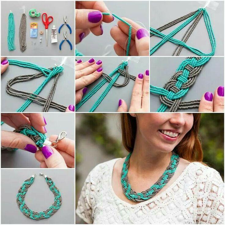 Collar trenzado de chaquira accesorios de moda ideas - Como hacer bisuteria en casa ...