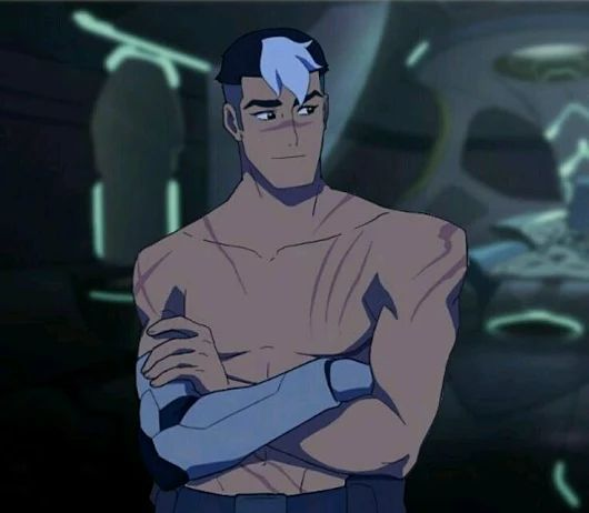 Shirtless Shiro with a lot of scars from Voltron Legendary Defender