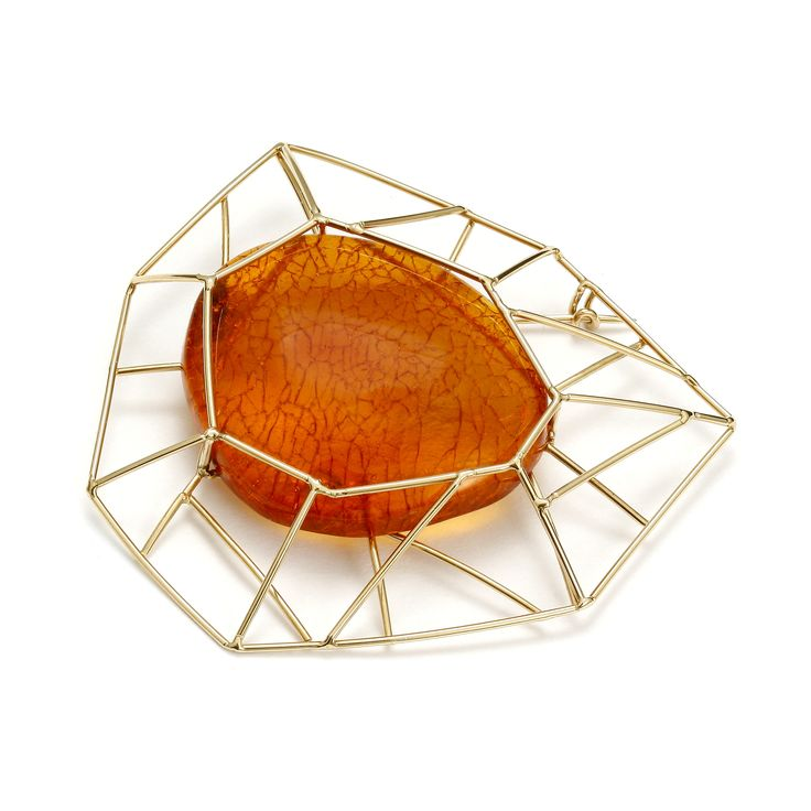 GEOAmber Collection.  Brooch. Authentic Baltic Amber. 14K Gold