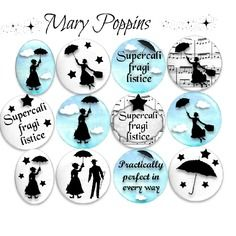 "36 images digitales pour cabochons ""mary poppins"""