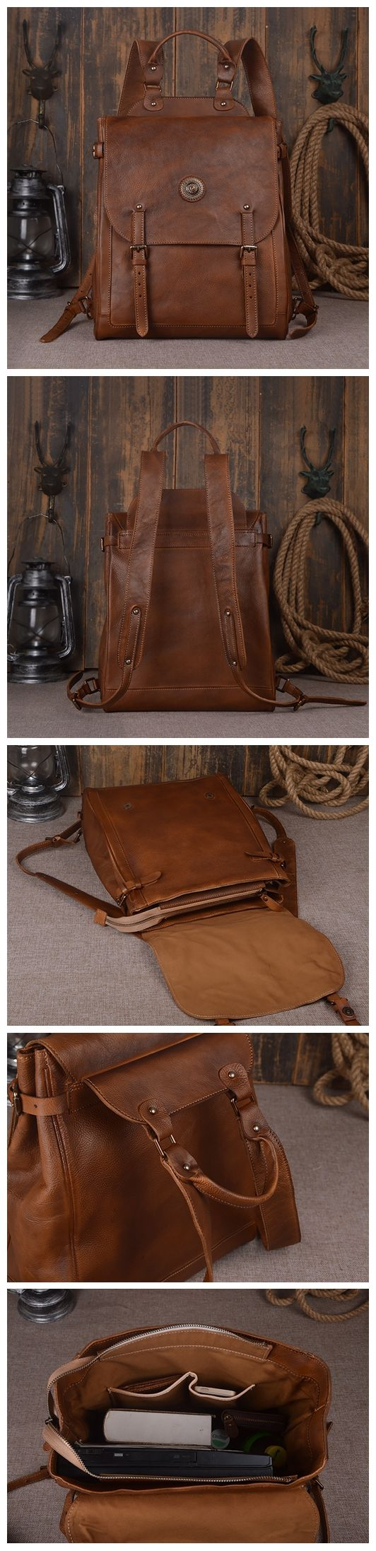 "Large Leather Backpack Vintage Leather Backpack Travel 9081 Model Number: 9081 Dimensions: 15.3""L x 5.5""W x 13""H / 39cm(L) x 14cm(W) x 33cm(H) Weight: 3.5lb / 1.6kg Hardware: Brass Hardware Color: Dar"