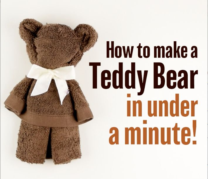 An easy way to make a teddy bear out of a towel. Fun and creative activity to try with your kids or even use as a decoration for a baby shower!  Watch the video tutorial here https://www.facebook.com/BabyFirstTV/videos/10154447498789586/