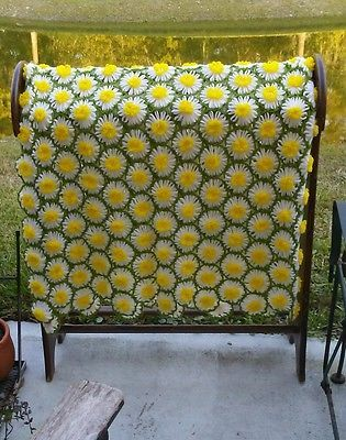 Granny Hand Made 50x64 3D Yellow Daisy Afghan Vintage NEW Knit Quilt Shabby Chic
