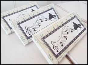 "Homemade Party Favors Candy Bar Pockets ""Piano"""
