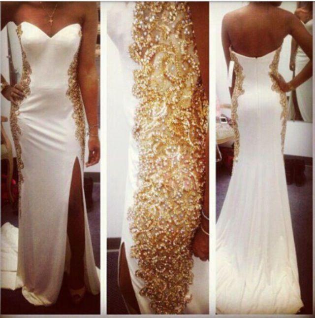 $209 27dress.com custom made 2014 Gold Crytal Beaded Side Split Evening Dresses