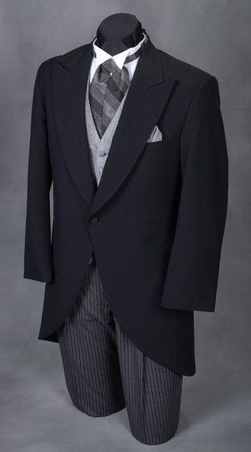 Men S Black Victorian Cutaway Morning Suit Tuxedo Coat