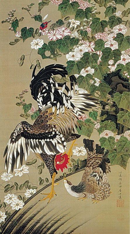 伊藤若冲 Ito Jakuchu/動植綵絵 Doshoku Sai-e(Colorful Realm of Living Beings)10-芙蓉双鶏図…