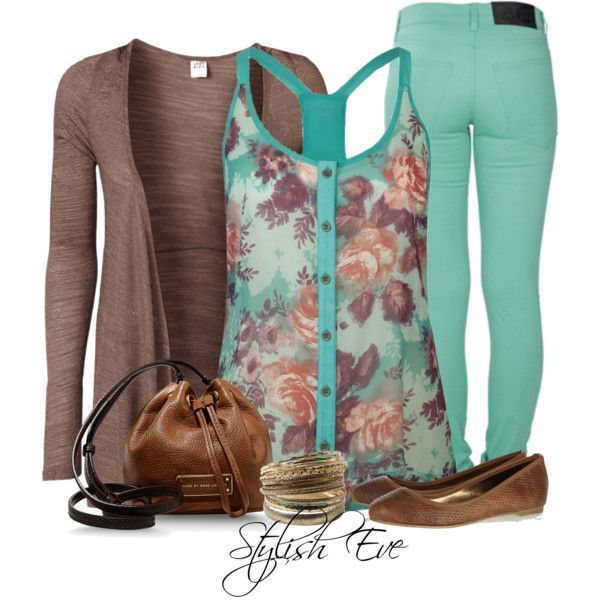 Spring Outfit- I love turquoise & brown combos, I NEED pastel colored jeans ASAP!