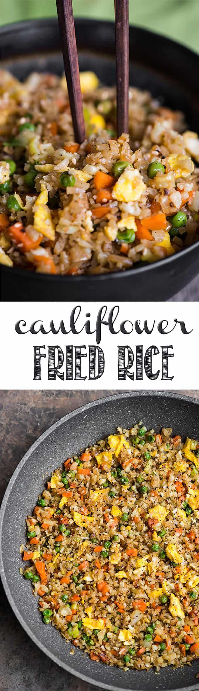 Cauliflower Fried Rice is an easy to make a tasty, low carb meal packed with vitamins and flavor! This