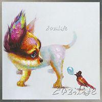 Собака с птица картина маслом На Холсте Настенные Панно Картины для Гостиной Wall Art plattle нож современной абстрактной ручной окрашенные