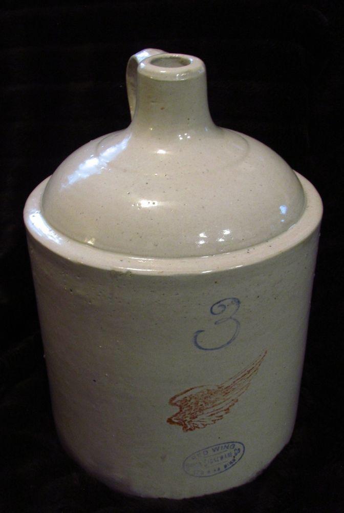Antique #3 red wing stoneware crock shoulder jug no cracks or chips