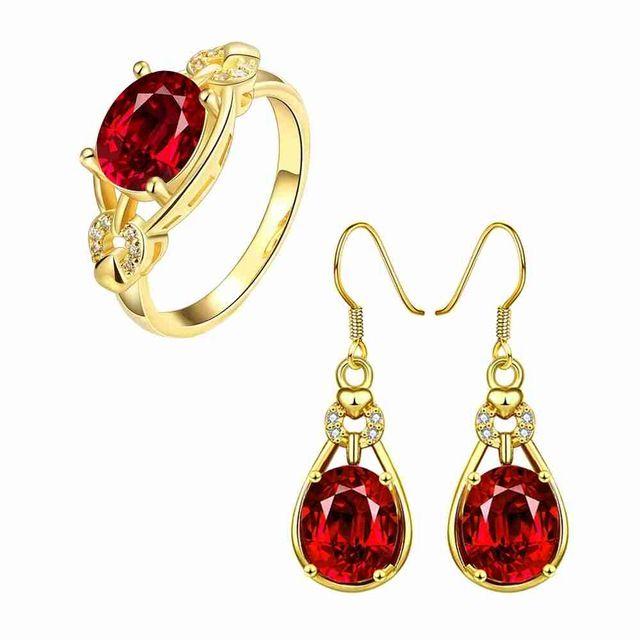 Envío Gratis Nueva Hermosa de La Manera 18 k oro plateado anillo de joyería de la Mano que sostiene la bola de cristal + pendientes de la boda