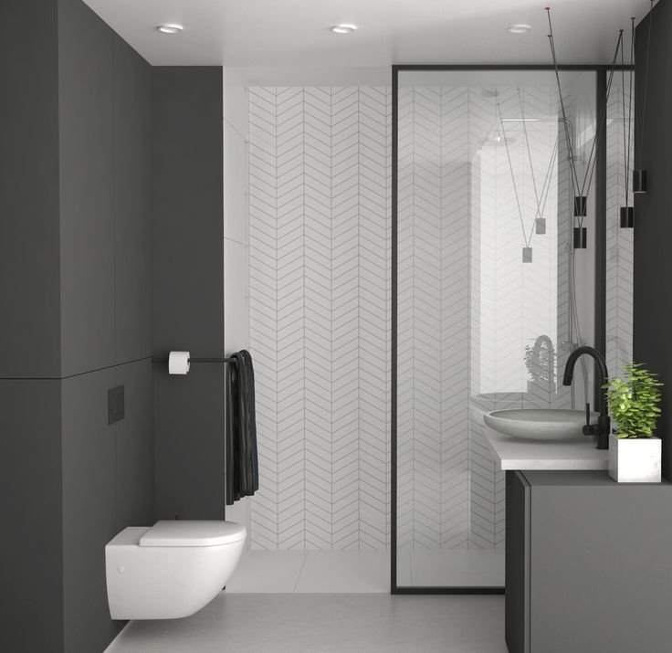 modern bathroom with a walk-in shower, Elbląg, Poland
