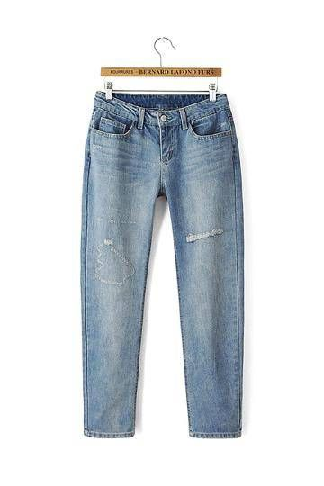 Light Blue Loose Ripped Jeans - US$29.95 -YOINS