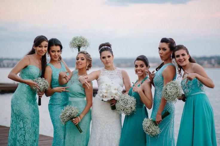 Madrinhas de casamento: Maquiagem para usar com vestido tiffany, verde água e azul turquesa