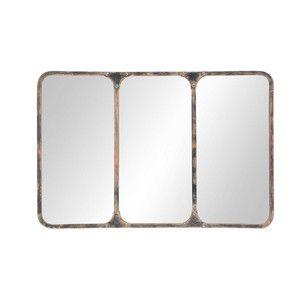 Espejo industrial de metal negro con efecto envejecido Al. 72cm TITOUAN
