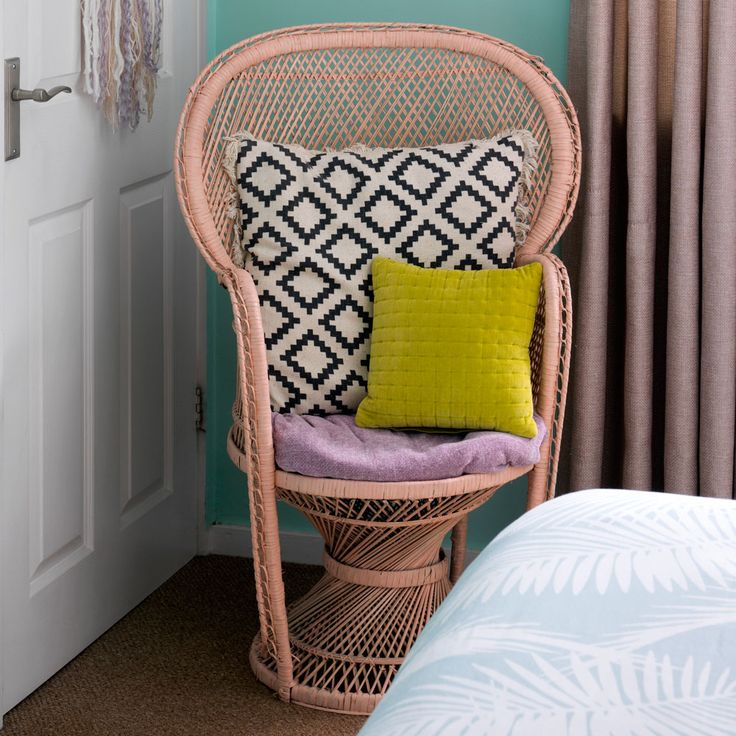 My favourite corner in our bedroom, our peacock chair featured during our home tour on the Ideal Homes website