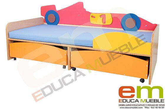 #Cama #Infantil Ciudad - Cama para #niños tematizada con un coche de carreras, con cajones individuales. Esta cama completa otro conjunto de #dormitorio Tienda Educamueble