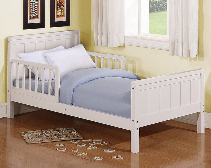 The Baby Relax Toddler Bed transitions your child from crib to bed safely and easily. The white toddler bed has a sturdy, low set wooden construction that makes it safe and easy for your baby to climb in and out!