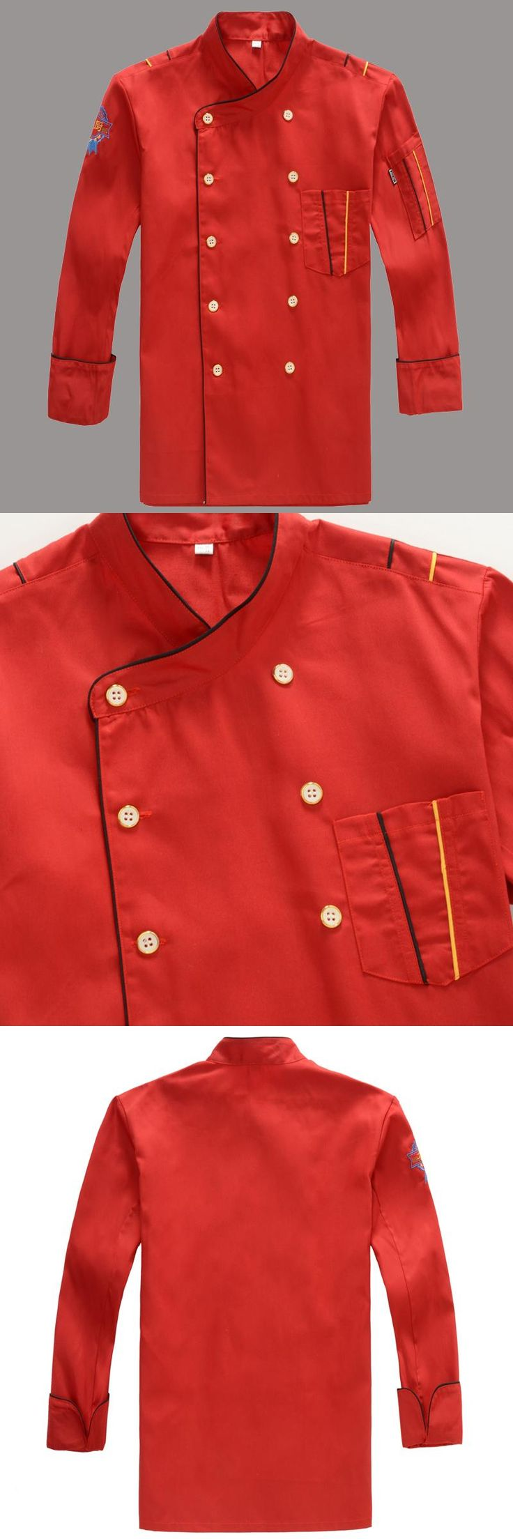 Chef uniform Wear for men Long Sleeved Hotel Chef jacket Red Double Breasted Suit Kitchen Restaurant Chef uniform