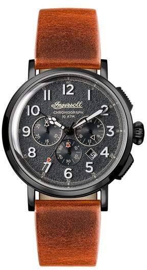 INGERSOLL WATCHES Ingersoll St. John Chronograph Leather Strap Watch, 44mm