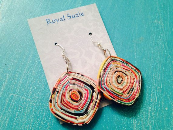 Recycled/Upcycled Magazine Paper Earrings  by RoyalSuzieJewelry