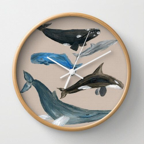 A personal favorite from my Etsy shop https://www.etsy.com/listing/251179091/whale-wall-clock-whale-clock-grey-wall