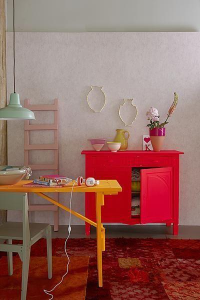 Styling: Esther Jostmeijer | Photographer: Dennis Brandsma vtwonen september 2011 #vtwonen #magazine #interior #livingroom #fluo #red #orange #mintgreen #pastels #bohemien #cabinet #chair #table