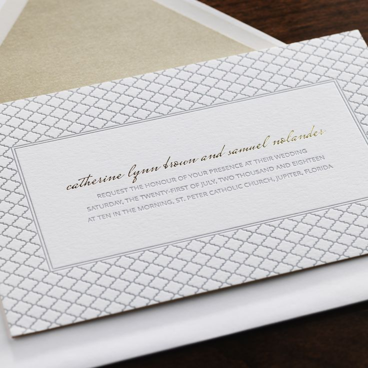 letterpress wedding invites london%0A Veil by Checkerboard  letterpress wedding invitation in silver ink and  gold foil