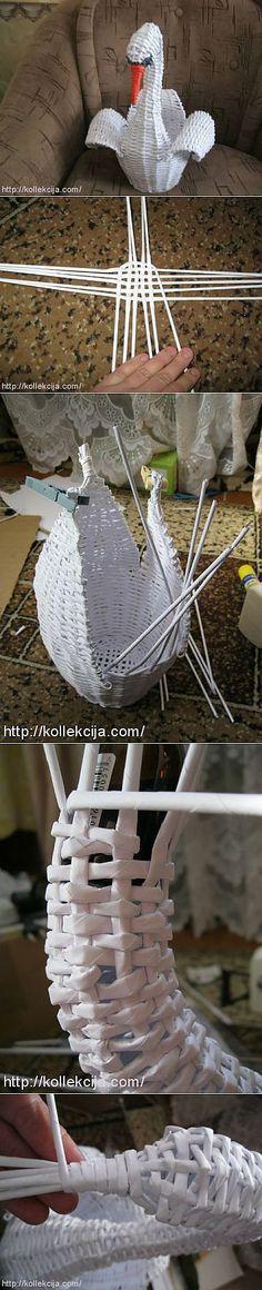 Cisne con cestería en papel