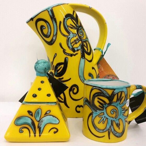 Contemporary ceramics in fantastic bright colour. Jug, sugar pot and coffee mug