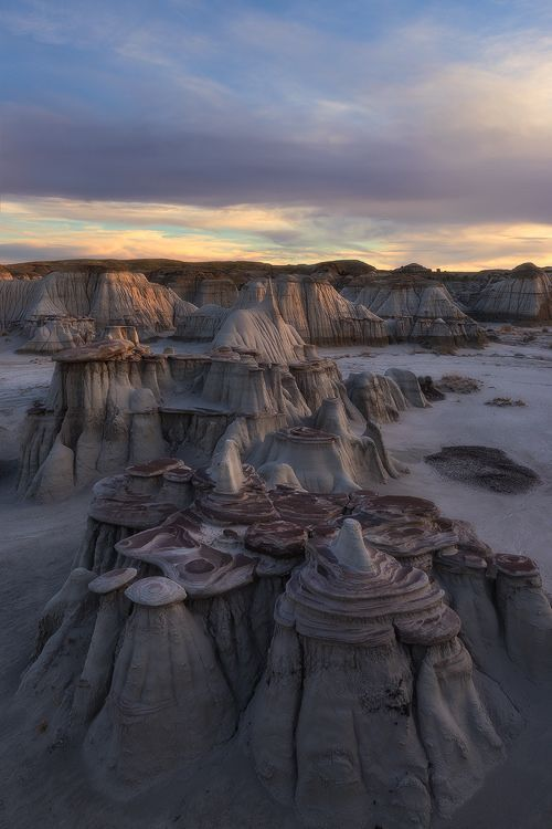 The Bisti/De-Na-Zin Wilderness in the San Juan County, New Mexico, USA. Its interesting design is actually a result of of steeply eroded badlands.