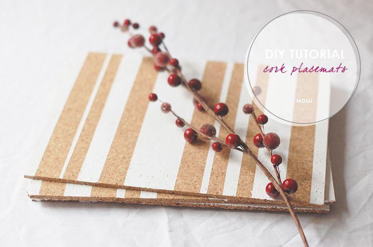 {DIY feature} Scandi-inspired cork placemats. Full tutorial featured on B.Loved Weddings #craftwithmolu #handmadehome | ©MadebyMolu
