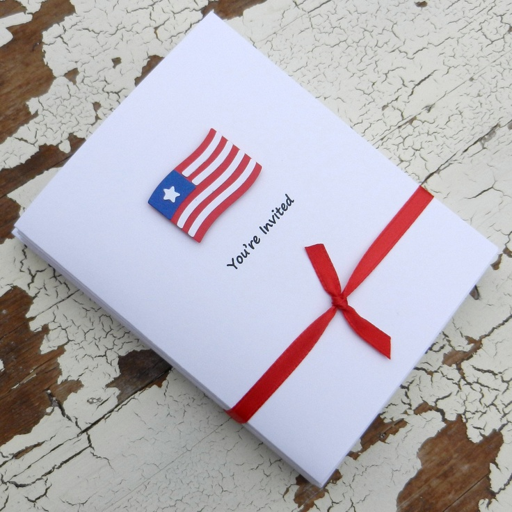 Handmade 4th of July Invitations - Flag - 10 Pack. $16.00, via Etsy.
