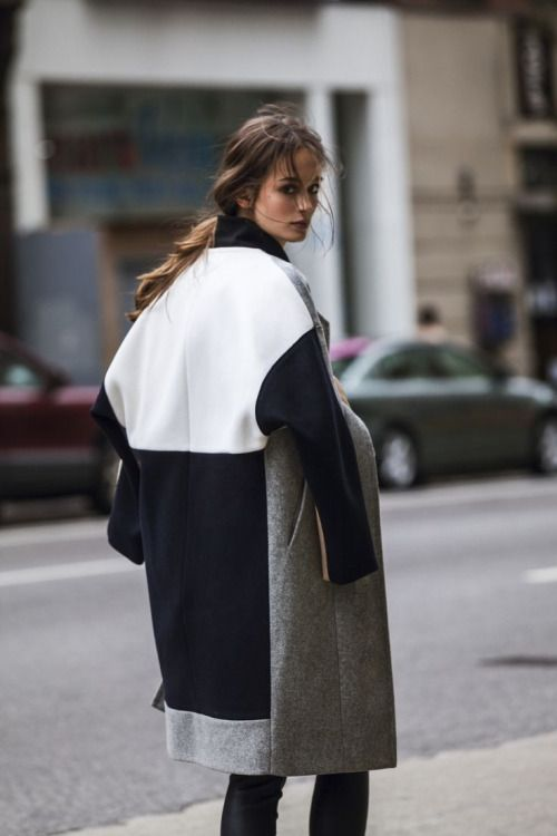 oversized gray black and white colorblock coat + leather black pants