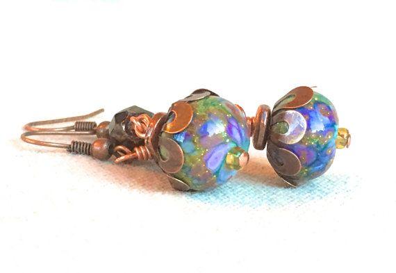Boho gioielli bohemien orecchini rame gioielli viola di FunNFiber