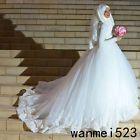 Nice Amazing 2018 Arabic Muslim Bridal Dress Luxury Fall With Hijab Veil Wedding Gown Custom  2018