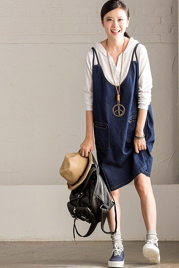 Blue Cowboy Overalls Dresses  Women Clothes Q7113A