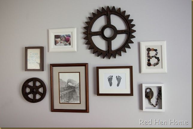 Vintage Boy Nursery - Chris bought two gears a couple years ago and we've never used them. We will now! Plan on doing a grouping just like this will old vintage plain/train prints.