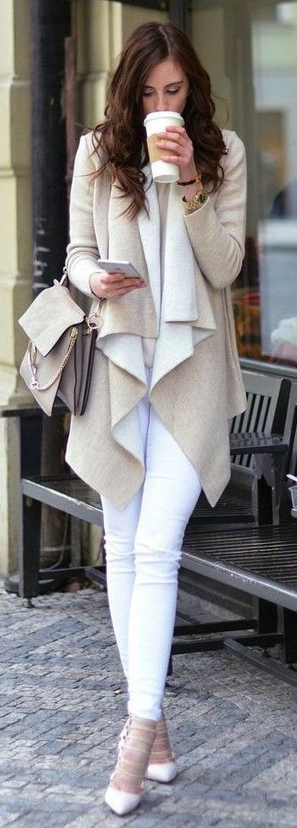 #Street #Fashion | Beige And White Waterfall Cardi, White Denim, White Pumps | Vogue Haus