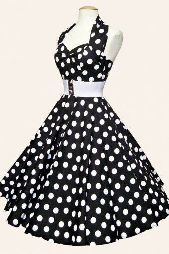 1950s retro swing dresses - halter Polka Dot Black White swing dress cotton sateen
