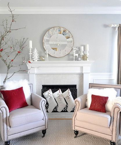 White Christmas Mantel Ideas: An All White Christmas Fireplace Mantel Accented With A