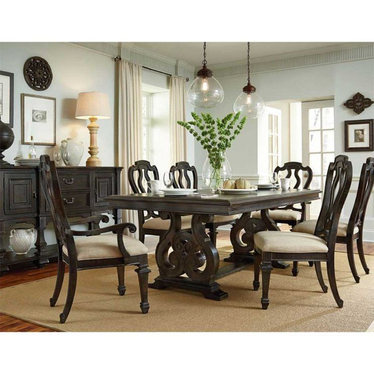 American Drew Manchester Court Trestle Dining Table AD 407 744R