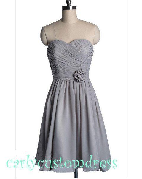 Short Grey Bridesmaid Dress/Mint Green Coral by CarlyCustomDress, $69.99